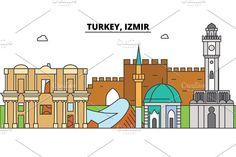 Turkey, Izmir outline skyline, turkish flat thin line icons, landmarks, illustrations. Turkey, Izmir - Illustrations - 1