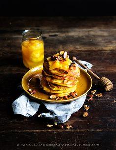 Orange pancakes with caramelized oranges and roaster almonds