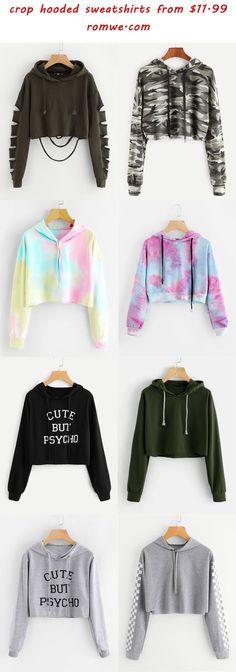 Cropped hooded sweatshirt - hooded crop sweatshirts 2018 romwe com Girls Fashion Clothes, Teen Fashion Outfits, Cute Fashion, Girl Fashion, 2000s Fashion, Fashion Today, Petite Fashion, Ladies Fashion, Fashion News