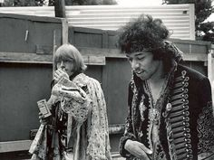 Jimi Hendrix hanging out with Brian Jones at Monterey Pop Festival 1967