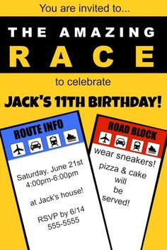Fantastic ideas for hosting an Amazing Race birthday party at home! This post includes free printable amazing race party invitations, amazing race game clues, and amazing race thank you notes!