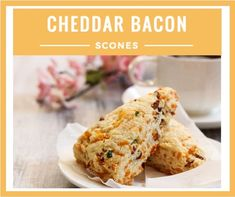 These easy and delicious Cheddar Bacon Scones are the perfect non sweet treat to bring to a brunch. They are savory and go perfect with a cup of coffee.