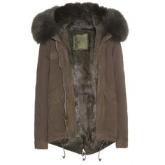 Mr & Mrs Italy Fur-Lined Parka-Style Jacket (10.820 RON) ❤ liked on Polyvore featuring outerwear, jackets, coats, green, green jacket, green parka, brown parka, fur lined jacket и green parka jacket
