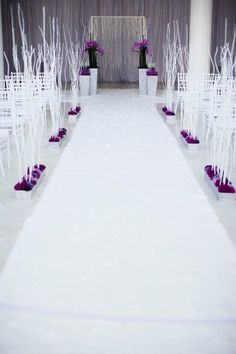 Love the drama of the all white with purple touches....