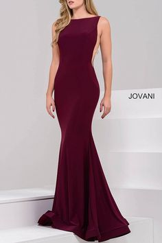 Burgundy Fitted Open Back Jersey Dress 47100