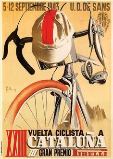 Spain pirelli bicycle bike race 1943 cycling tour cataluna vintage poster repro