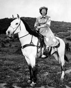 """Dale Evans Horse Buttermilk, rescued from a slaughter auction and considered """"dangerous"""" before being trained for Dale."""