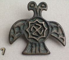 Mongolian cross and swastika with the cross taking the form of the double-headed eagle, a heraldic symbol going as far back as the Hittites of 1900 BC. The swastika is enclosed in an star probably representing Venus/Mary. Spiritual Symbols, Sacred Symbols, Ancient Symbols, Ancient Artifacts, Ancient History, Imperial Eagle, Double Headed Eagle, Minoan, Ancient Jewelry