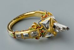Ring - with icicle-shaped diamond, so called Matthias-ring, Germany, 16th century. Via Salem Lucien