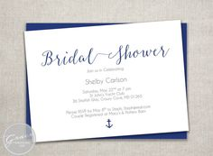 Nautical Bridal Shower Invite / Navy rustic by GraceDesignsDIY
