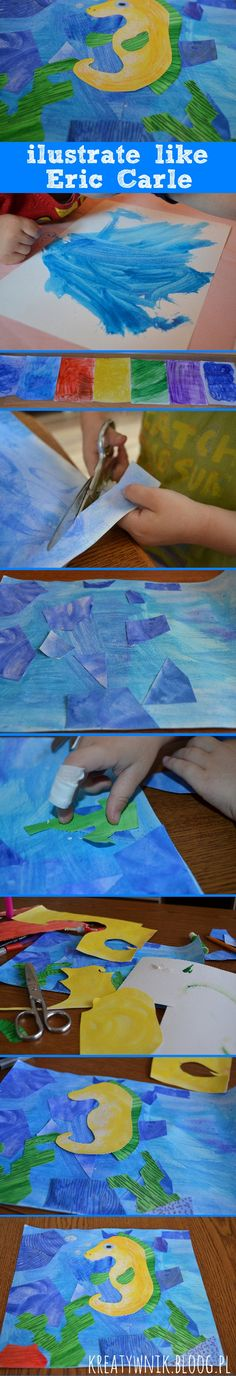 A simple way to achieve large and interesting effect in the creation of children's illustration. Mosaic created from colorful scraps of paper. Illustration inspired by the work of Eric Carle'a ...