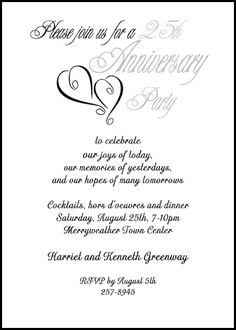 Finding the right wedding anniversary invitation wording silver hearts 25th wedding anniversary party invitation cards stopboris Gallery