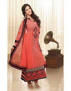 Sunny Leone Elegant Tomato Salwar Kameez Rs.3,695