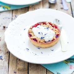 Beautiful red currant crumble tart