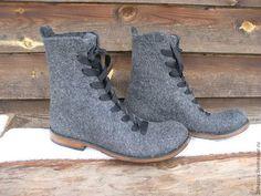 Обувь ручной работы. Ярмарка Мастеров - ручная работа. Купить Валяные ботинки GRIGGIO. Handmade. Серый, валенки на подошве