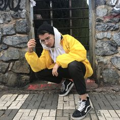 Vans old skool, white hoodie, black hood, yellow jacket. #tumblr