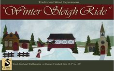 """Winter Sleigh Ride Wool Applique Wallhanging 13.5"""" by 37"""""""
