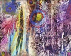 Viskose-Jersey mit Digitaldruck FASAN, Pfauenfeder und Schlangenmuster, lila