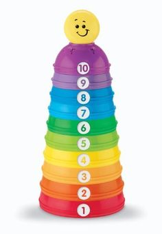 Fisher-Price Brilliant Basics Stack & Roll Cups by Fisher-Price. $11.79. From the Manufacturer                Baby can learn so much through basic play, and these stackable, nestable, fit-together-and-roll-around cups offer endless versatility for lots of enriching discoveries. Includes 10 colorful cups to grasp, stack or nest, with grooved surfaces for a snug fit and easy stacking. Different colors, sizes and numbers help build early identification skills. A smilin...