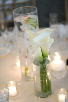 calla lilies with submerged orchids