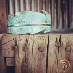 Turquoise patina feather cuff -- we are in LOVE with the Lathan Cuff!#savannahsevens #savannah7s #patina #feather #cuff