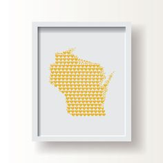 #Wisconsin #heart #map #art #print by Franny & Franky Designs on #Etsy ... #decor #midwest