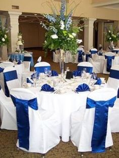 Ideas Royal Blue Wedding Decoration Or My Wedding Colors Are Royal Blue Silver With Baby Blue White How Do I Incorporate All These Colors Into My Reception As Far As The Centerpieces Wedding 38 Royal. Blue Wedding Receptions, Wedding Themes, Wedding Table, Wedding Colors, Wedding Day, Wedding Flowers, Bridal Table, Reception Table, Dress Wedding