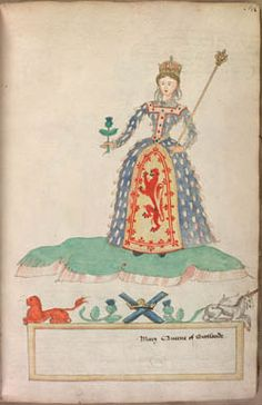 Watercolour by Mary Queen of Scots of herself (MS 316, f.18). Lambeth Palace Library, London