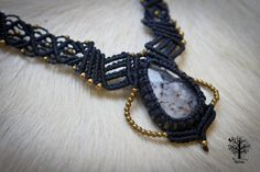 Macrame Necklace with Dendritic Opal Stone boho jewelry, macrame necklace, boho, elven,gypsy jewelry ,gifts,ethnic jewelry,wedding jewelry