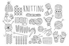 Knitting Vector Hand drawn by TopVectors on Creative Market – Knitting patterns, knitting designs, knitting for beginners. Bullet Journal Knitting, Strick Tattoo, Knitting Tattoo, Hand Knitting, Yarn Tattoo, Knitting Designs, Knitting Patterns, Agenda Planning, Drawing Frames