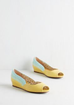 Three Tones a Lady Wedge in Daffodil by Bettie Page - Yellow, Blue, Solid, Stripes, Casual, Vintage Inspired, 60s, 70s, Colorblocking, Better, Peep Toe, Variation, Low, Spring, Mint, Pastel, Work, As You Wish Sale