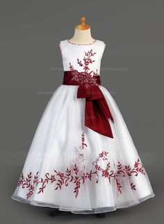 Flower Girl Dresses - $136.99 - A-Line/Princess Scoop Neck Floor-Length Organza Charmeuse Flower Girl Dress With Embroidered Sash Beading Sequins (010005891) http://jjshouse.com/A-Line-Princess-Scoop-Neck-Floor-Length-Organza-Charmeuse-Flower-Girl-Dress-With-Embroidered-Sash-Beading-Sequins-010005891-g5891