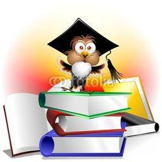 #Funny #Owl #Teacher #Cartoon on #Books © #bluedarkat