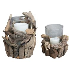Driftwood Candle Holders by Ecochic http://www.ecochic.com.au/shop/Shop+By+Style/Beach+Chic/Driftwood+Candle+Holders.html $30