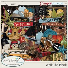 Walk The Plank Digital Scrapbooking bundle. Great for Pirates of the Caribbean layouts! #Pirates #Digitalscrapbook