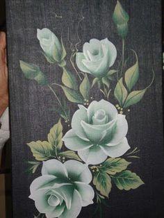 Roses on denim