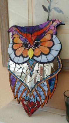 Vidro-De-Arte-Coruja-Mosaico-Espelho-Placa-De-Parede-Pendurado-artesanais-faca-voce-mesmo