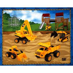 """Caterpillar Nursery Playground Panel from @fabricdotcom  Licensed by Caterpillar, Inc. to Fabrique Innovations, this cotton print panel features construction toy trucks on a playground. Panel measures 36"""" x 44"""". Perfect for quilting or wall hangings. Colors include yellow, tan, brown, grey, white, green, and blue."""
