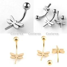 1x Stainless Steel 14g Dragonfly Belly Button Ring $1.33