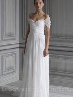 White Chiffon Wedding Gown With Draped Bodice and Frayed Neckline