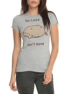 >> Click to Buy << Pusheen The Cat SO LAZY CAN'T MOVE T-Shirt Unisex NWT Tops Tee Shirts Short Sleeve Cotton Camisetas Gray T shirt US Size XS-3XL #Affiliate