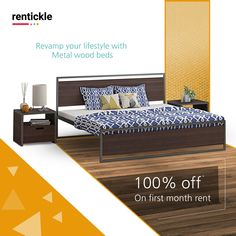 Metal wooden beds that add a whole new level of style and comfort to your bedroom. Simple, modern and chic. Thinking of Renting . Think of Rentickle! Wooden Beds, Bedroom Simple, Beds Online, Delhi Ncr, New Beds, Renting, Pune, Hyderabad, Bed Design