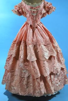 Pink ruffled ball gown, 1850s (Reminds me of Kaylee's dress in Shindig)