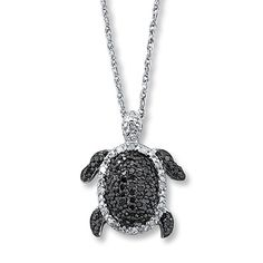Diamond Turtle Necklace  1/4 ct tw Round-cut Sterling Silver