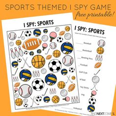 Free printable sports themed I Spy game for kids from And Next Comes L