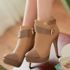 wholesale Knee High Dual Use Apricot Buckled Long Boots$22.46