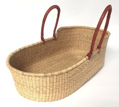 Combo: Ghana Moses Basket Natural Straw-Brown leather handles