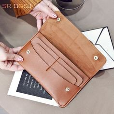 Black Red  Gray Brown Woman Leather Long Wallet Card Holder Clutch Pu Purse