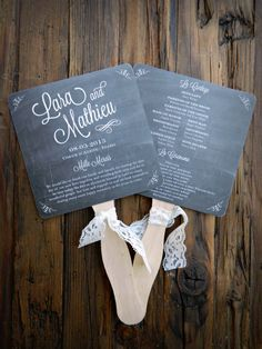 Chalkboard Wedding Program Fans DIY. Look at that lacy ribbon!