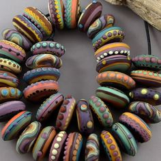 Magma Beads ~Mother Earth Disks~ Handmade Lampwork Beads. #Lampwork